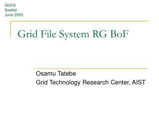 Grid File System RG BoF