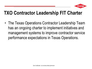 TXO Contractor Leadership FIT Charter