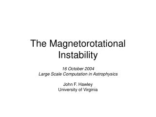 The Magnetorotational Instability