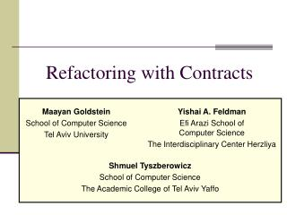 Refactoring with Contracts