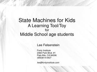 State Machines for Kids  A Learning Tool/Toy for  Middle School age students