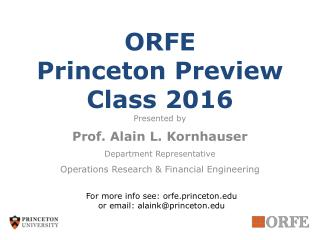 ORFE Princeton Preview Class 2016