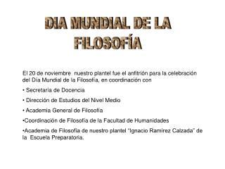 DIA MUNDIAL DE LA FILOSOFÍA