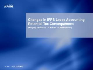Changes in IFRS Lease Accounting Potential Tax Consequences