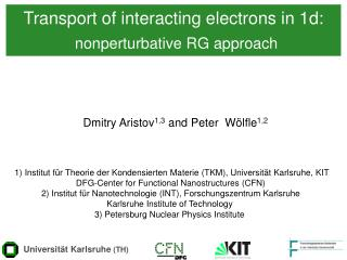 Transport of interacting electrons in 1d: nonperturbative RG approach