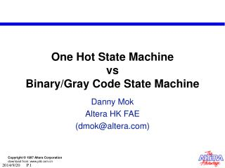One Hot State Machine  vs Binary/Gray Code State Machine