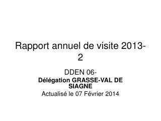 Rapport annuel de visite 2013-2