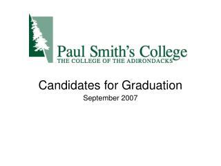 Candidates for Graduation
