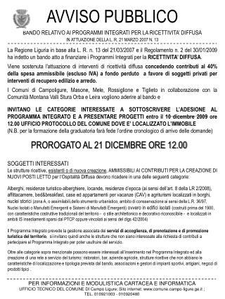 AVVISO PUBBLICO BANDO RELATIVO AI PROGRAMMI INTEGRATI PER LA RICETTIVITA' DIFFUSA