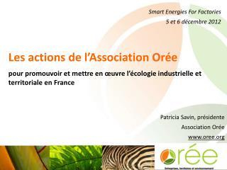 Smart Energies For Factories 5 et 6 décembre 2012