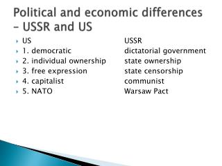 Political and economic differences – USSR and US