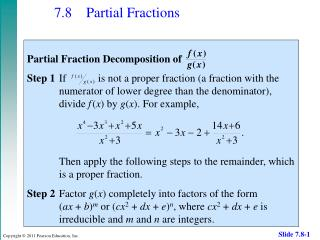 7.8 	Partial Fractions