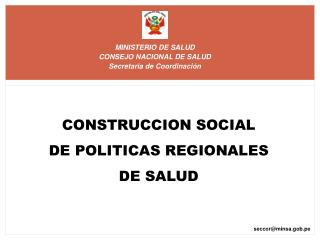 MINISTERIO DE SALUD  CONSEJO NACIONAL DE SALUD  Secretaria de Coordinación