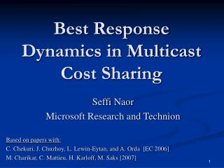 Best Response Dynamics in Multicast Cost Sharing