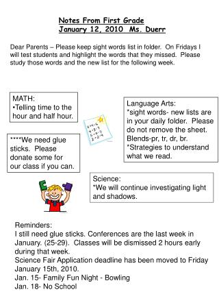 Notes From First Grade January 12, 2010  Ms. Duerr