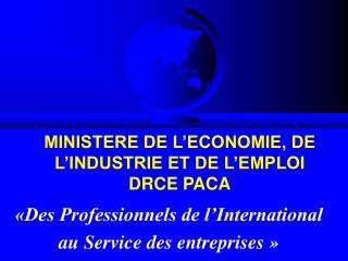 MINISTERE DE L'ECONOMIE, DE  L'INDUSTRIE ET DE L'EMPLOI DRCE PACA