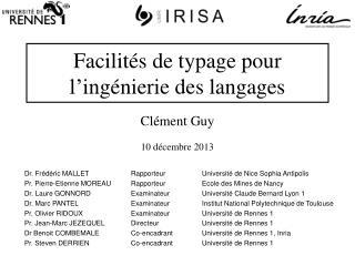 Facilités de typage pour l'ingénierie des langages