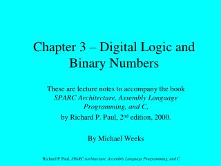 Chapter 3 – Digital Logic and Binary Numbers