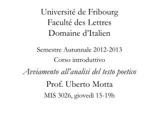 Université de Fribourg Faculté des Lettres Domaine d'Italien