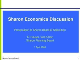 Sharon Economics Discussion