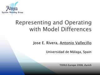 Representing and Operating with Model Differences