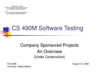 CS 490M Software Testing