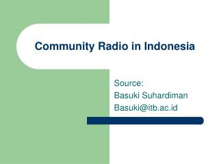 Community Radio in Indonesia