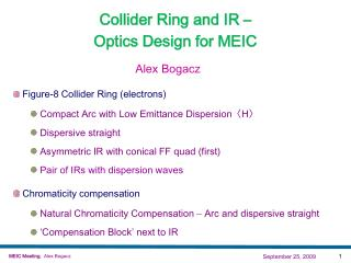 Collider Ring and IR –  Optics Design for MEIC