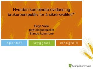 Hvordan kombinere evidens og brukerperspektiv for   sikre kvalitet     Birgit Valla psykologspesialist  Stange kommune