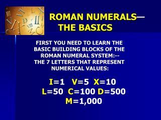 ROMAN NUMERALS — THE BASICS