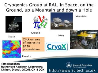 Cryogenics Group at RAL, in Space, on the Ground, up a Mountain and down a Hole