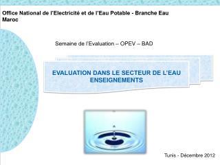 Office National de l'Electricité et de l'Eau Potable - Branche Eau Maroc