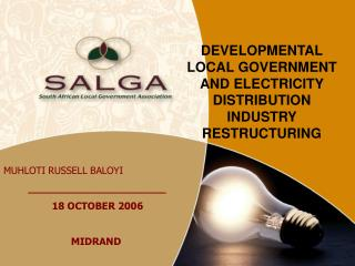 DEVELOPMENTAL LOCAL GOVERNMENT AND ELECTRICITY DISTRIBUTION INDUSTRY RESTRUCTURING