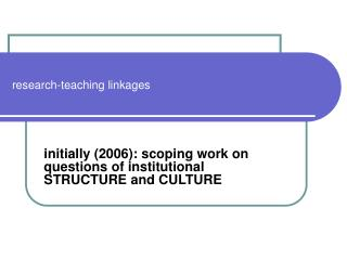 research-teaching linkages