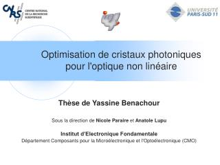 Optimisation de cristaux photoniques pour l'optique non linéaire