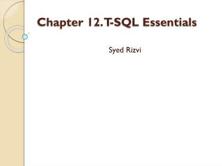 Chapter 12. T-SQL Essentials
