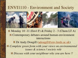 ENVI1110 - Environment and Society