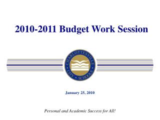 2010-2011 Budget Work Session