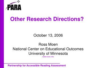 Other Research Directions