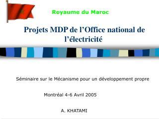 Projets MDP de l'Office national de l'électricité