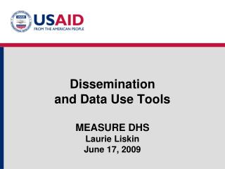 Dissemination  and Data Use Tools MEASURE DHS  Laurie Liskin June 17, 2009