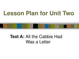 Lesson Plan for Unit Two