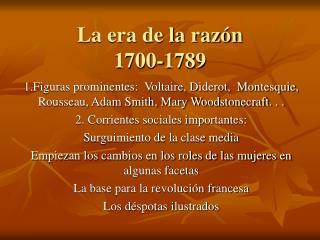 La era de la raz n 1700-1789