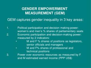 GENDER EMPOWERMENT  MEASUREMENT (GEM)