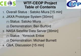 WTF-CEOP Project Table of Contents
