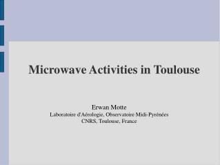 Microwave Activities in Toulouse