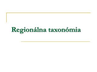 Regionálna taxonómia