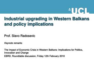 Industrial upgrading in Western Balkans and policy implications