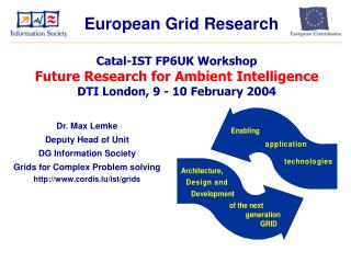 Dr. Max Lemke Deputy Head of Unit DG Information Society Grids for Complex Problem solving