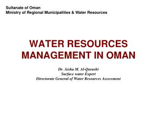 WATER RESOURCES MANAGEMENT IN OMAN